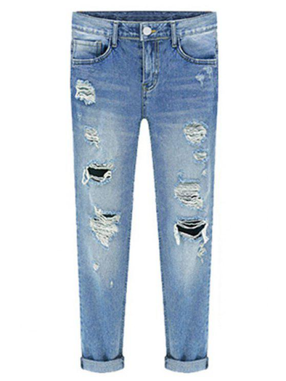 womens Bleach Wash Ripped Roll Cuff Jeans - BLUE M