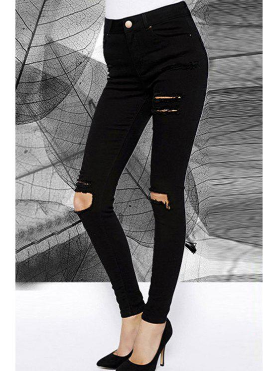 ladies High-Waisted Ripped Black Pencil Jeans - BLACK M