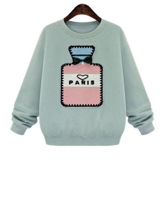 sale Perfume Bottle Print Sherpa Sweatshirt - LIGHT BLUE XL