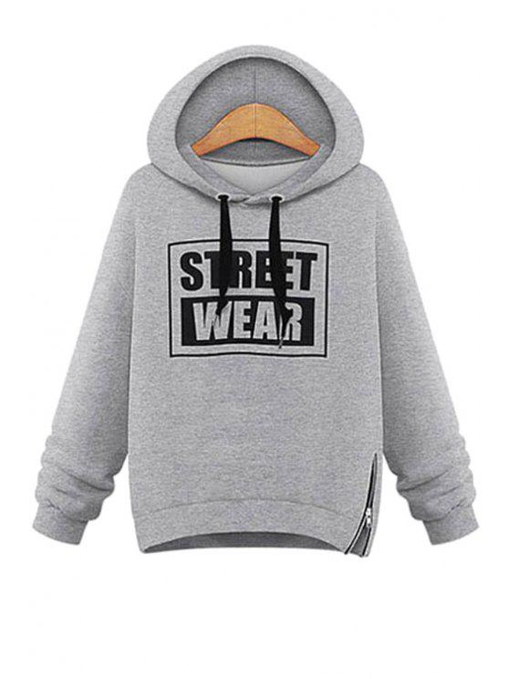 buy Letter Print Zippered Sherpa Hoodie - GRAY XL