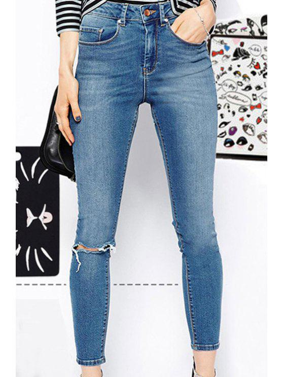 outfit Blue High-Waisted Ripped Pencil Jeans - LIGHT BLUE M