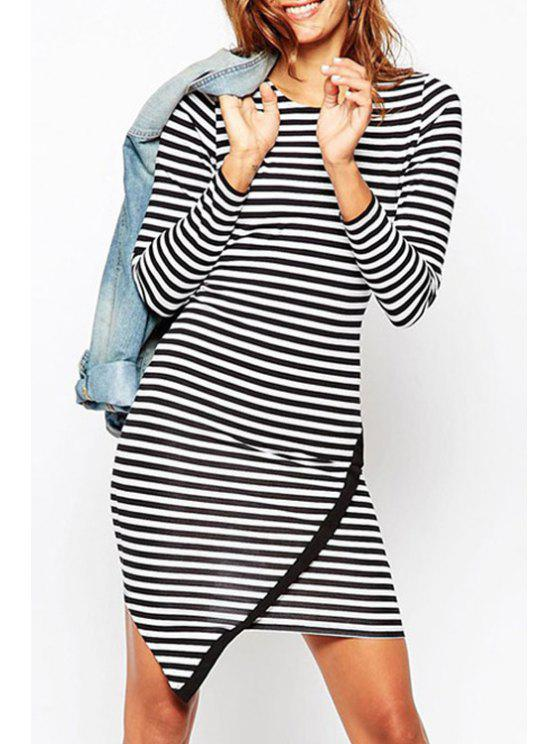 best Long Sleeve Striped Overlap Dress - WHITE AND BLACK ONE SIZE(FIT SIZE XS TO M)