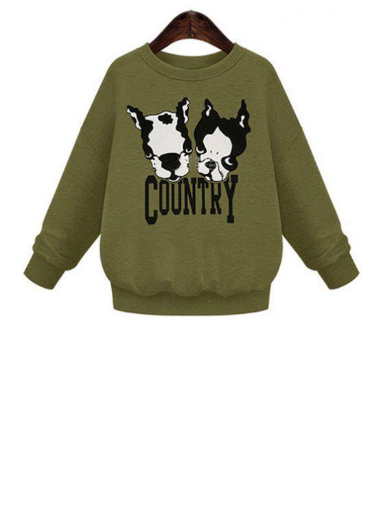 new Dropped Shoulder Puppy Print Sweatshirt - ARMY GREEN XL
