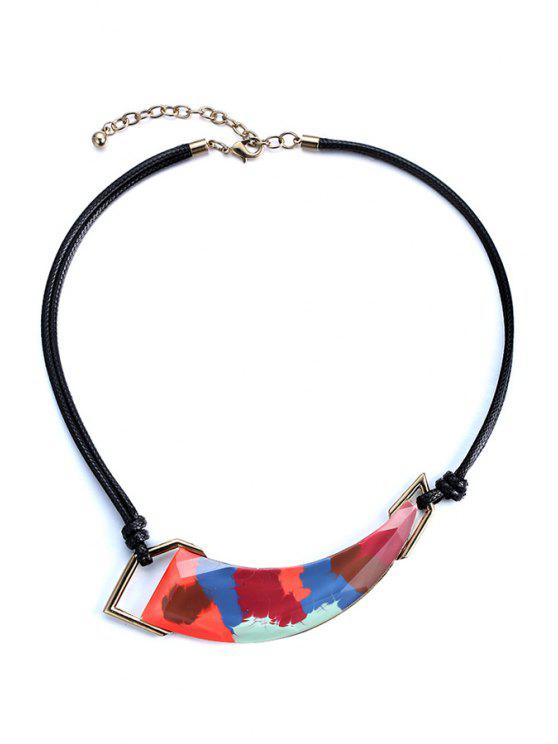 hot Colored Ivory Shape Statement Necklace - BLACK
