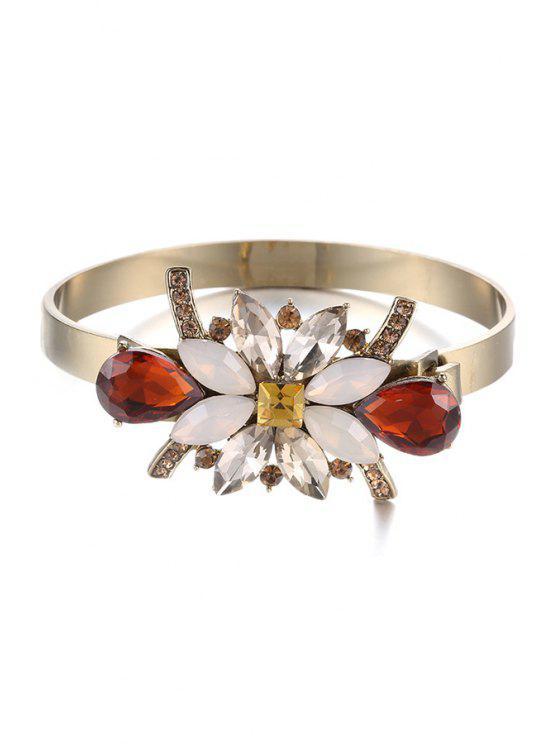 online Rhinestone Flower Plated Cuff Bracelet - GOLDEN