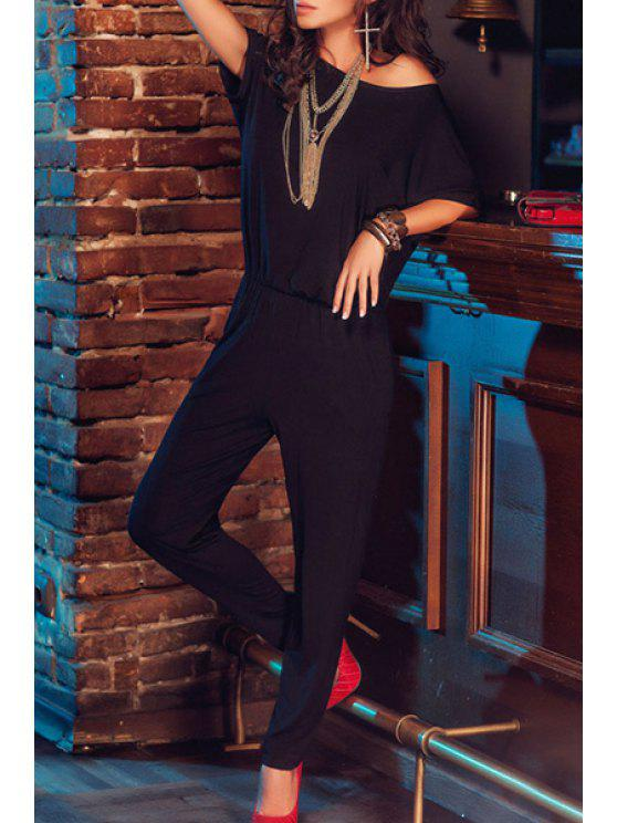 buy Short Sleeve Elastic Waist Black Jumpsuit - BLACK ONE SIZE(FIT SIZE XS TO M)
