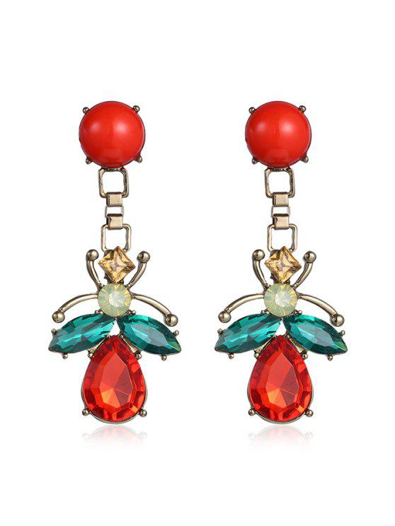 womens Insect Shape Drop Earrings - RED