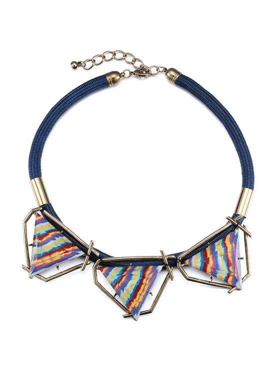 chic Colorful Triangle Statement Necklace - BLUE