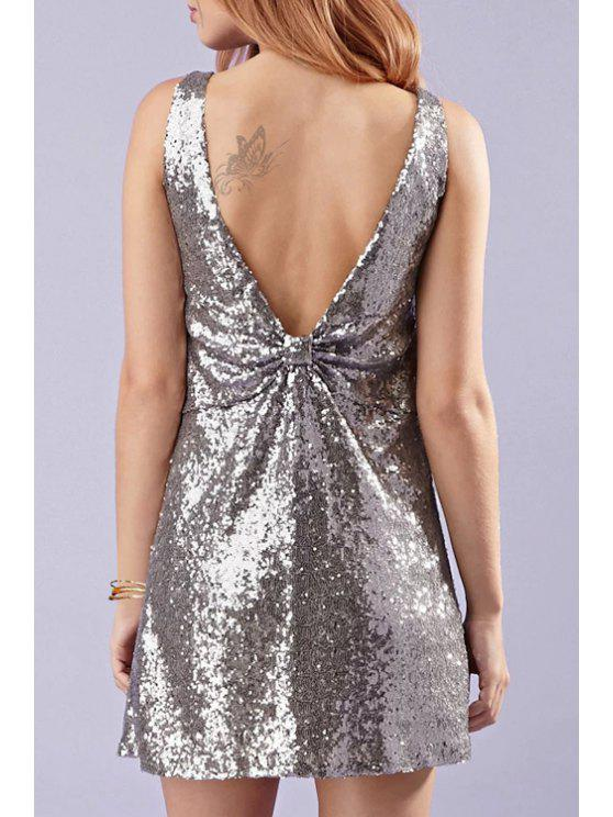 shop Backless Sequins Bowknot Sleeveless V-Neck Dress - SILVER 2XL