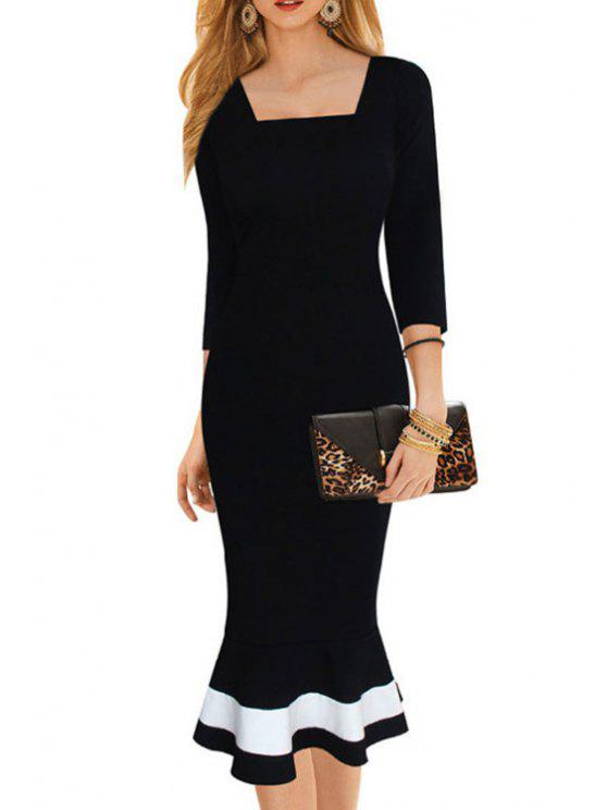 outfits Square Neck Fitted Mermaid Formal Dress - BLACK ONE SIZE(FIT SIZE XS TO M)