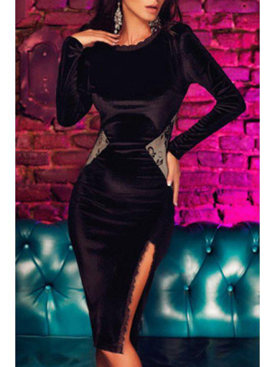 latest Packet Buttocks Side Slit Black Dress - BLACK M