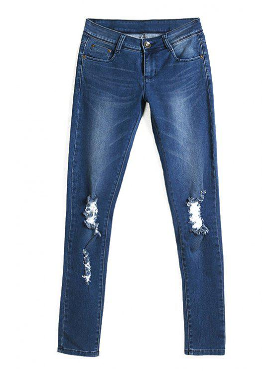 affordable Broken Hole Deep Blue Pencil Jeans - DEEP BLUE L
