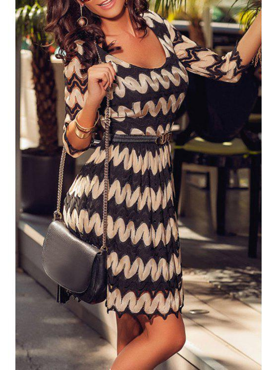hot Round Neck Half Sleeve Zig Zag Dress - BLACK ONE SIZE(FIT SIZE XS TO M)