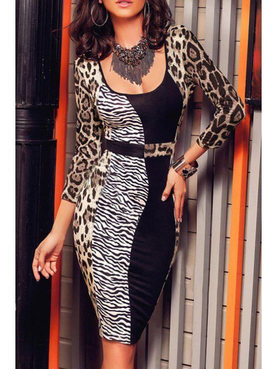 affordable Leopard Print Color Block Bodycon Dress - LEOPARD ONE SIZE(FIT SIZE XS TO M)