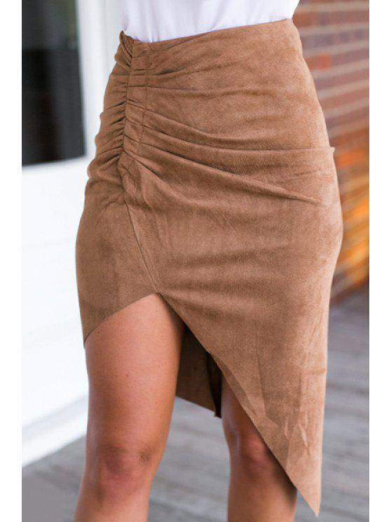 trendy Ruched Asymmetrical Suede Skirt - KHAKI ONE SIZE(FIT SIZE XS TO M)