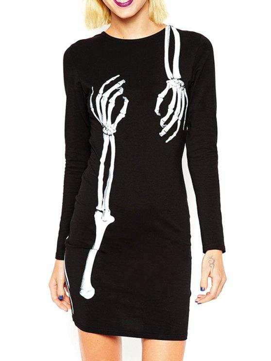 best Skeleton Print Round Neck Long Sleeves Dress - BLACK M