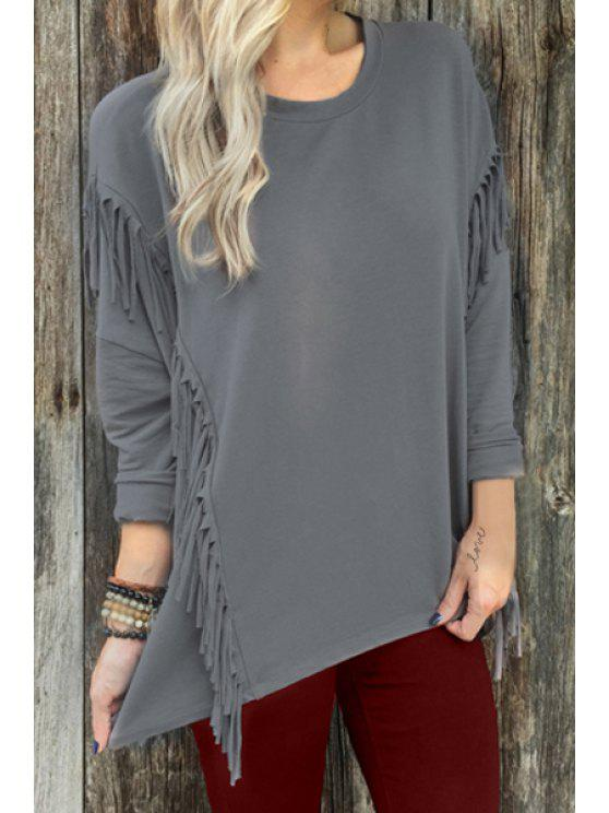 outfit Fringed Long Sleeve Gray T-Shirt - GRAY S
