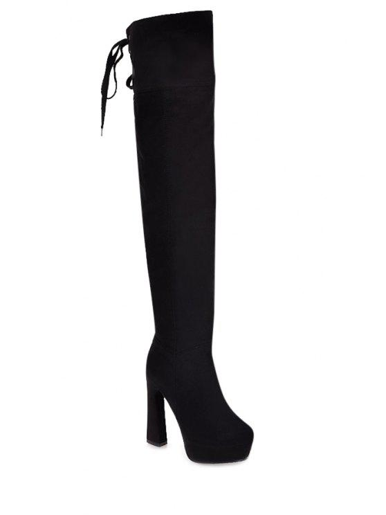 e0a6d713a6b9 34% OFF  2019 Chunky Heel Lace-Up Suede Thigh Boots In BLACK