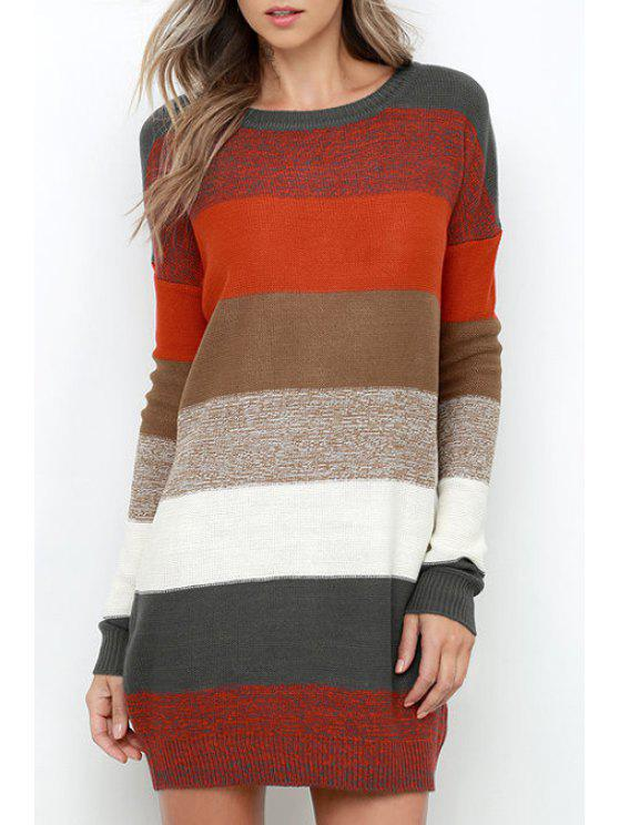 womens Striped Round Neck Long Sleeve Sweater Dress - RED M