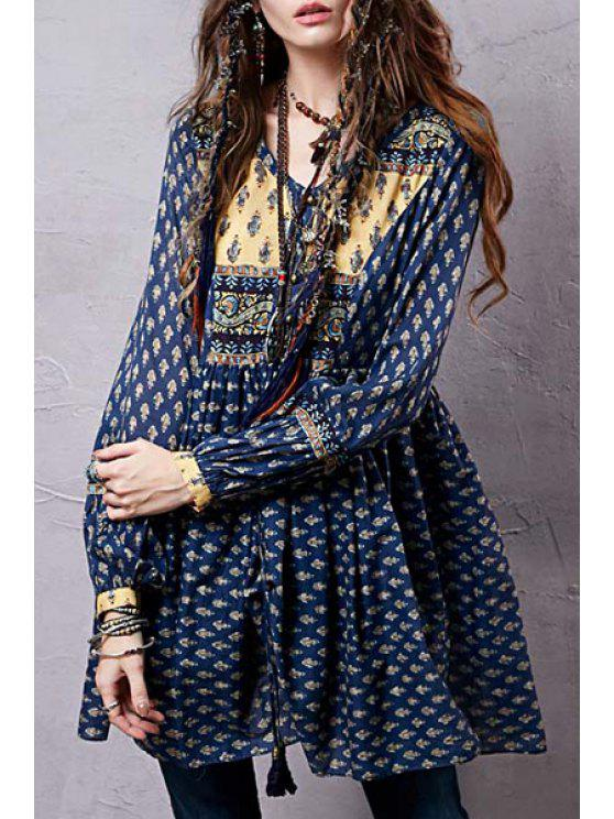 outfit Long Sleeve Tiny Floral Tunic Dress - BLUE M