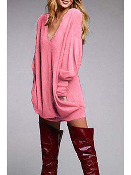 fashion Loose Fit Pocket Design T-Shirt - PINK S
