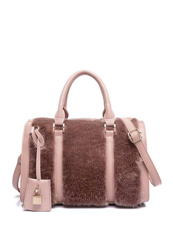 c43307821d 2019 Solid Color Faux Fur Metal Tote Bag In PINK
