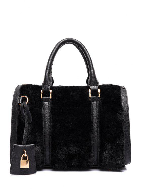 156aba9450 2019 Solid Color Faux Fur Metal Tote Bag In BLACK