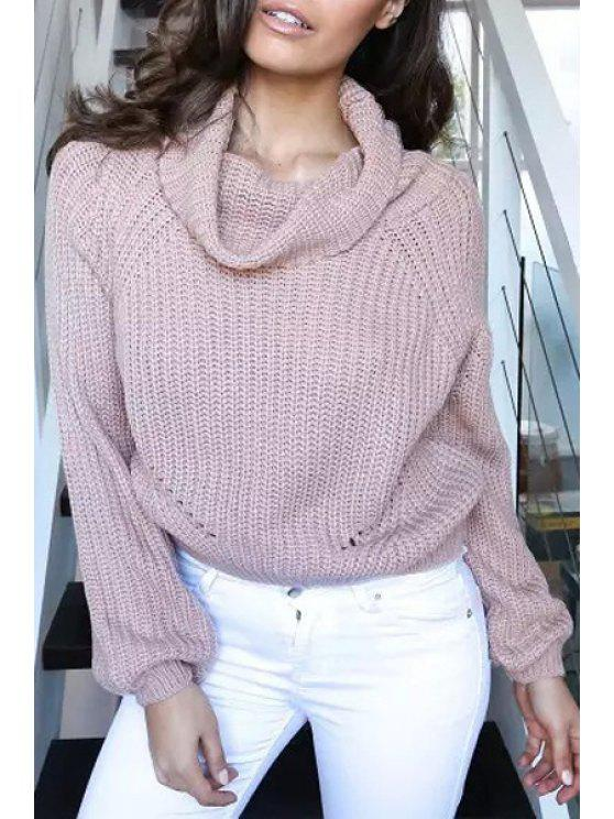 unique Cowl Collar Solid Color Sweater - PINK ONE SIZE(FIT SIZE XS TO M)