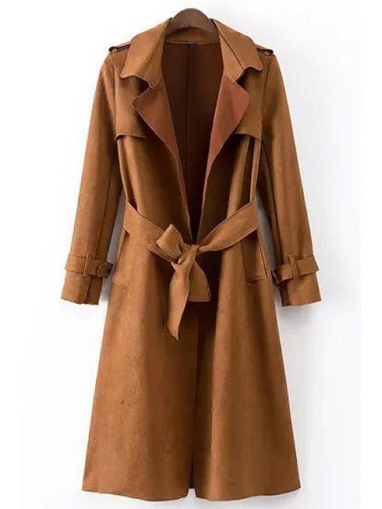 shop Epaulet Embellished Suede Coat With Belt - DARK KHAKI L