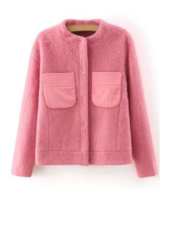hot Round Neck Two Pockets Wool Jacket - PINK ONE SIZE(FIT SIZE XS TO M)