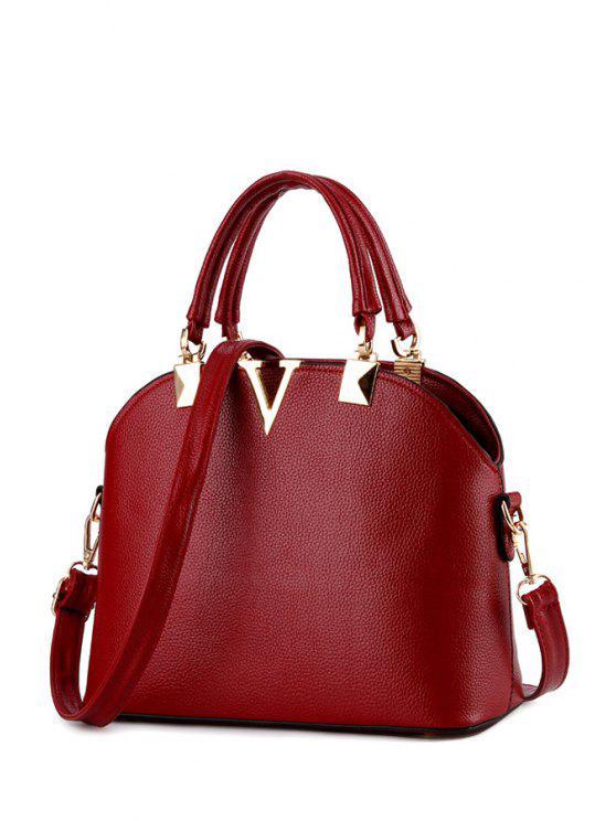 unique V-Shape Metal Embossing Tote Bag - WINE RED