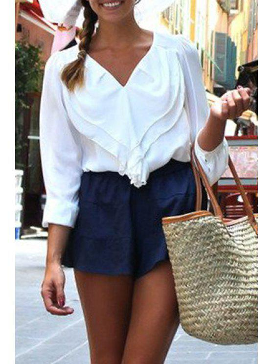 outfits V-Neck Long Sleeve Frilled White Shirt - WHITE S