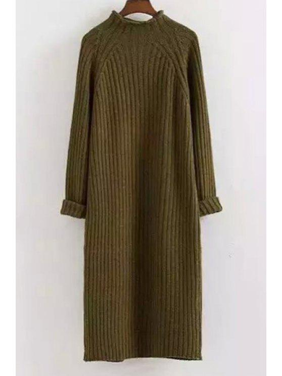 Mock Neck Solid Color Long Sleeves Sweater Dress - ARMY GREEN ONE SIZE(FIT SIZE XS TO M)