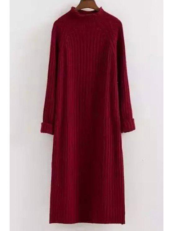 hot Mock Neck Solid Color Long Sleeves Sweater Dress - RED ONE SIZE(FIT SIZE XS TO M)