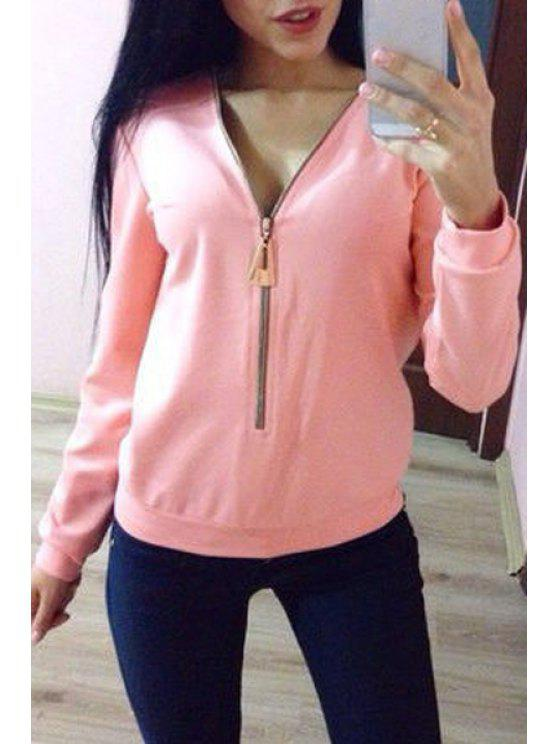 women Long Sleeve Pure Color Zippered T-Shirt - PINK L