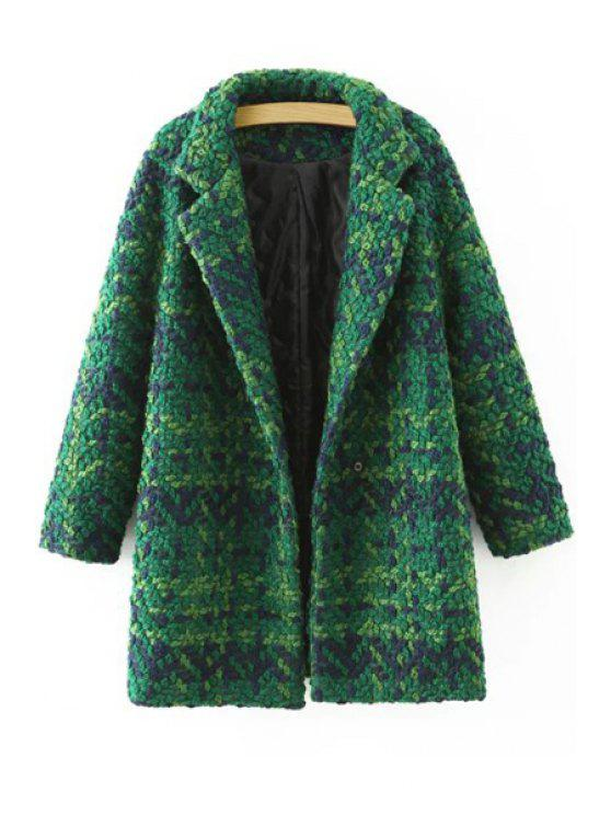 outfits Plaid Pattern Lapel Neck Long Sleeve Coat - GREEN L