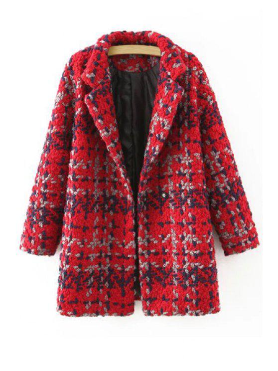 trendy Plaid Pattern Lapel Neck Long Sleeve Coat - RED L