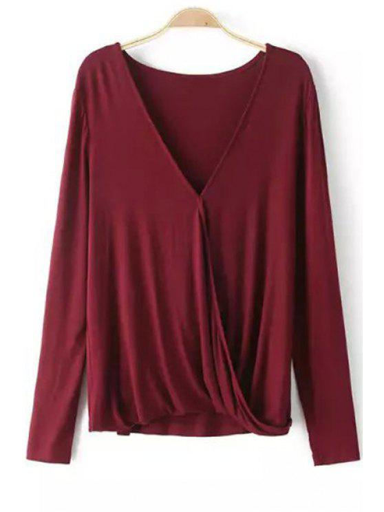 outfit Plunging Neck Long Sleeve Cross T-Shirt - WINE RED L