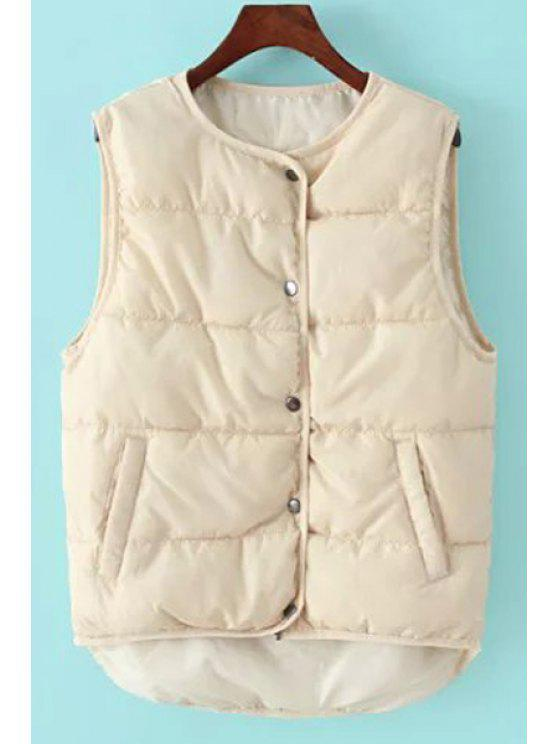 womens Round Collar Pure Color Waistcoat - OFF-WHITE ONE SIZE(FIT SIZE XS TO M)