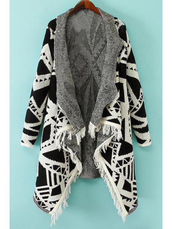 lady Geometric Pattern Fringes Spliced Turn-Down Collar Cardigan - OFF-WHITE S