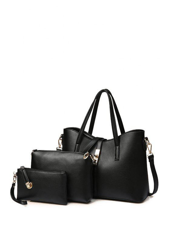 unique Solid Color Metal Hasp Shoulder Bag - BLACK