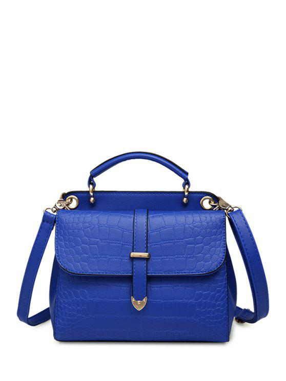 trendy Solid Color Crocodile Print Metal Crossbody Bag - BLUE