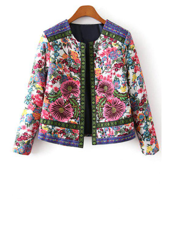 trendy Flower Print Embroidery Jacquard Long Sleeves Jacket - COLORMIX L