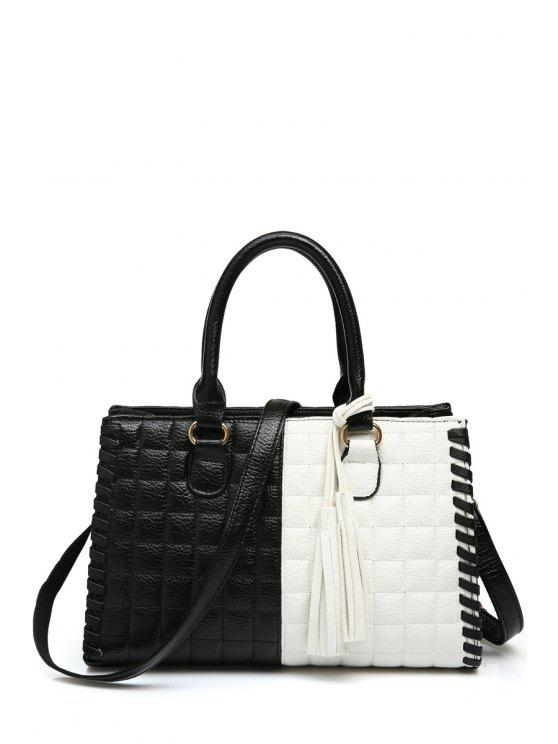 new Checked Tassels Color Block Tote Bag - WHITE AND BLACK
