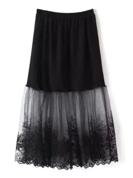 Lace Mesh Spliced A Line Falda - Negro Un tamaño(Montar tam