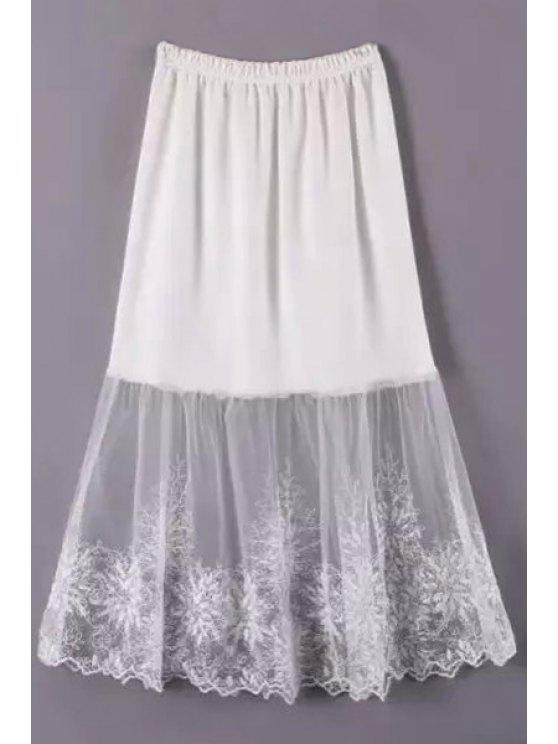 shop Lace Mesh Spliced A Line Skirt - WHITE ONE SIZE(FIT SIZE XS TO M)