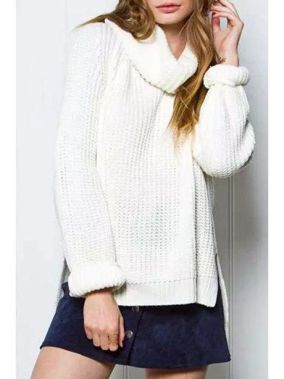 trendy Solid Color High Low Hem Turtle Neck Sweater - WHITE ONE SIZE(FIT SIZE XS TO M)