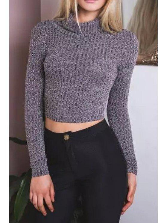 affordable Cropped Turtle Neck Long Sleeves Sweater - GRAY L