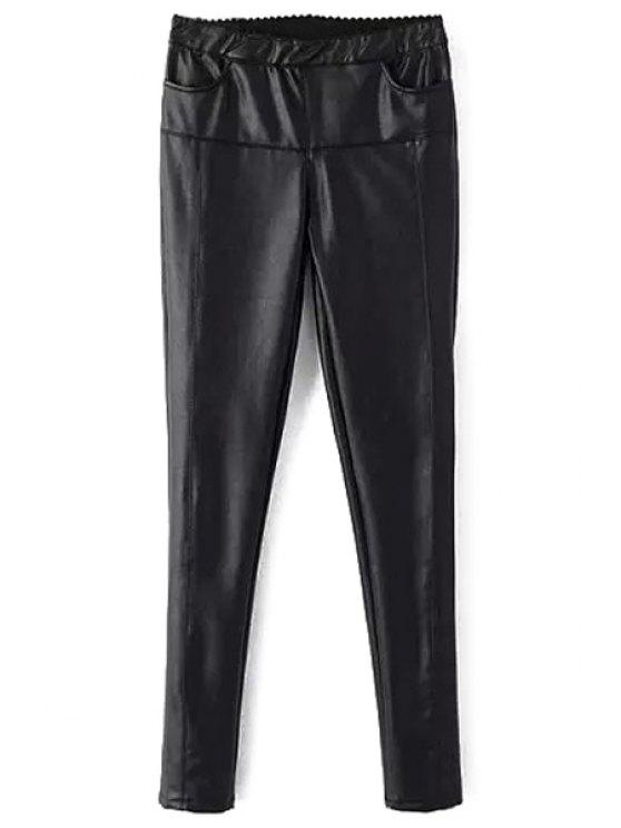 new Black Skinny Faux Leather Pants - BLACK L