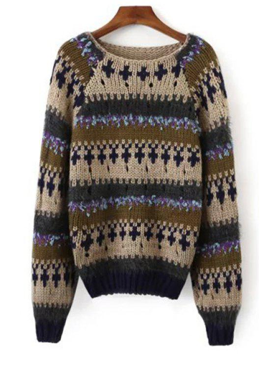 affordable Color Block Jacquard Round Collar Sweater - KHAKI ONE SIZE(FIT SIZE XS TO M)